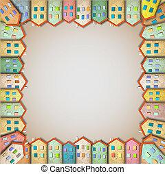 maisons, cadre, coloré