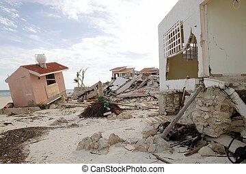 maisons, cancun, après, ouragan, orage