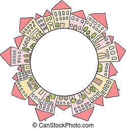maisons, cercle, doodles