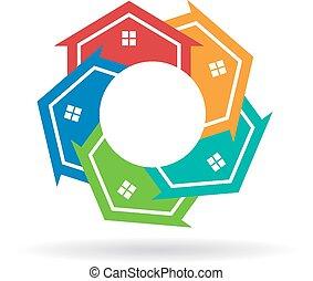 maisons, cercle, ensemble