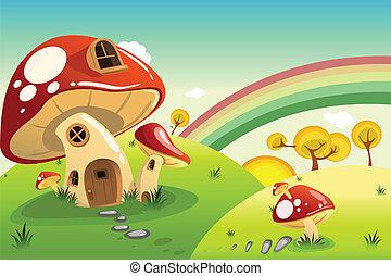 maisons, champignon