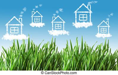 maisons, ciel clair