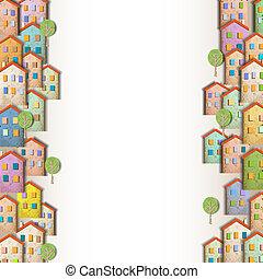 maisons, coloré, frontières