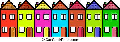 maisons, coloré, rang, dessin animé