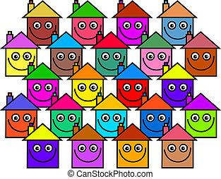 maisons, communauté, heureux