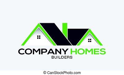 maisons, compagnie, vente, logo