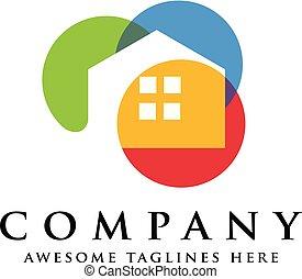 maisons, concept, coloré, logo