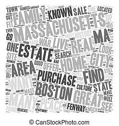 maisons, concept, texte, vente, wordcloud, massachusetts, fond
