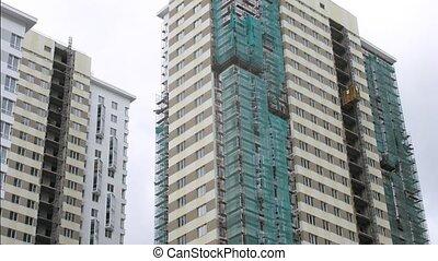 maisons, construction, grille, couvert, sous
