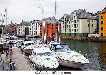 maisons, de, alesund, ville, norvège