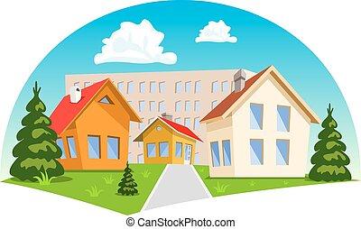 maisons, dessin animé, coloré