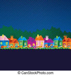 maisons, dessin animé, fond
