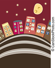 maisons, dessin animé