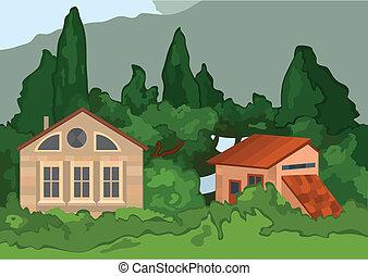 maisons, dessin animé, village, arbres