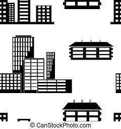 maisons, différent, bâtiments., espèce