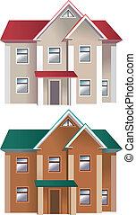maisons, différent, couleurs