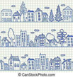 maisons, doodles, seamless, modèle