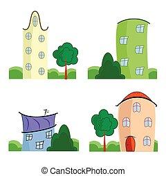 maisons, ensemble, dessin animé