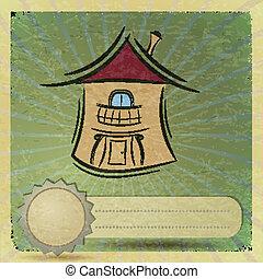 maisons, eps10, carte postale, vendange, illustration, sale.