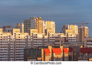 maisons, europe., classique, multi-storey, oriental
