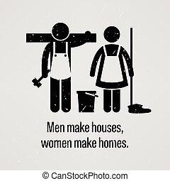 maisons, faire, hommes, maisons, femmes