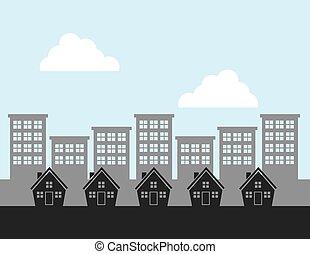 maisons, fond, ville