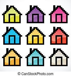maisons, groupe, coloré
