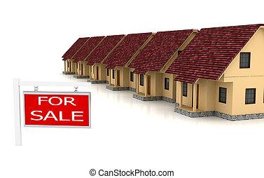 maisons, groupe, vente