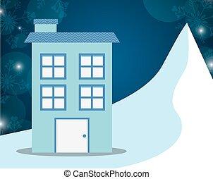 maisons, hiver, conception