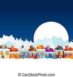 maisons, hiver, dessin animé