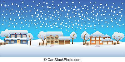 maisons, hiver, neige