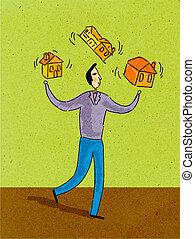 maisons, homme, trois, jonglerie
