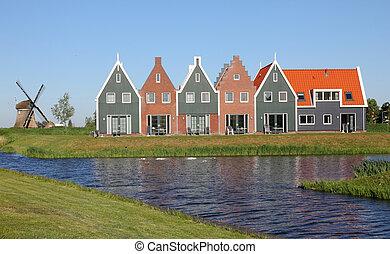 maisons, idyllique, paysage, hollande, nouveau