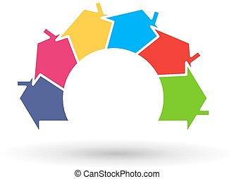 maisons, infographic, dans, cercle