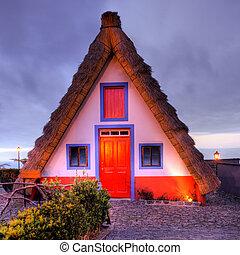 maisons, islan, vieux, madère, typique