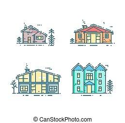 maisons, ligne, set., coloré, icône