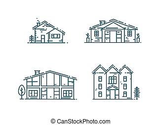 maisons, ligne, set., icône