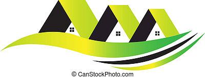 maisons, logo, vert, vie