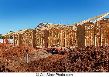 maisons, nouveau, construction
