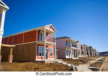 maisons, nouveau, constructions, sous