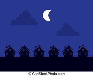 maisons, nuit, silhouette