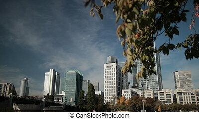 maisons, panorama, business, moderne, métropole, élevé, ...
