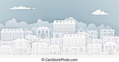 maisons, papier, rang