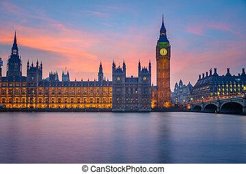 maisons, parlement, londres, nuit