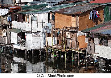 maisons, philippines, pauvreté, -, squatter