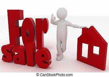 maisons, présentation, vente, personne, nouveau, marques