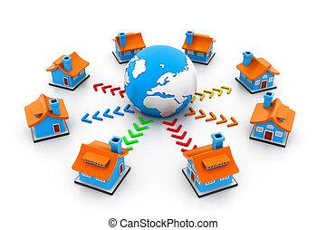 maisons, réseau global