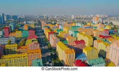 maisons, résidentiel, multicolore, trimestre