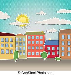 maisons, retro, illustration, urbain