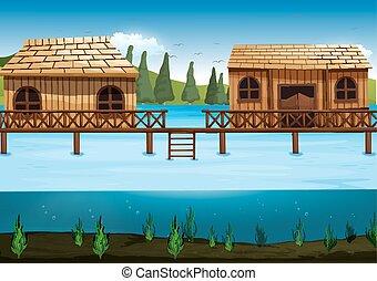 maisons, rivière, scène, deux